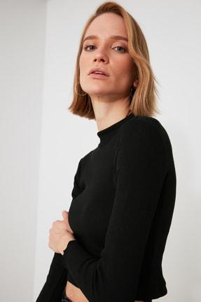 TRENDYOLMİLLA Siyah Dik Yaka Fitilli Örme Bluz TWOAW21BZ1032 2