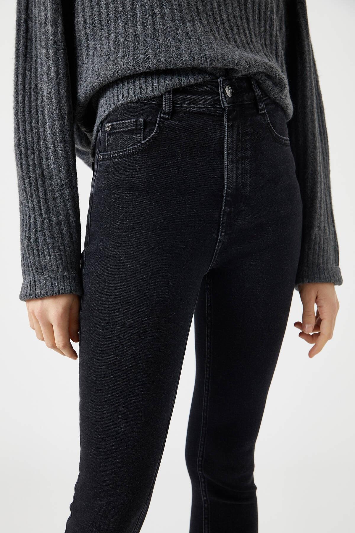 Pull & Bear Kadın Siyah Yüksek Bel Skinny Fit Jean 09683340 4