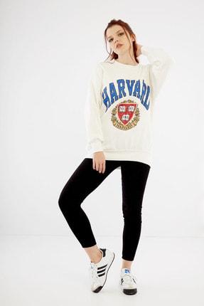 citycenterfashion Kadın Ekru Harvard Sweatshirt Cty-abr-7299 1