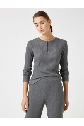 Koton Kadın Gri Pamuklu Uzun Kollu Pijama Üstü 1