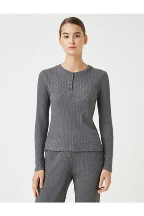 Koton Kadın Gri Pamuklu Uzun Kollu Pijama Üstü 2