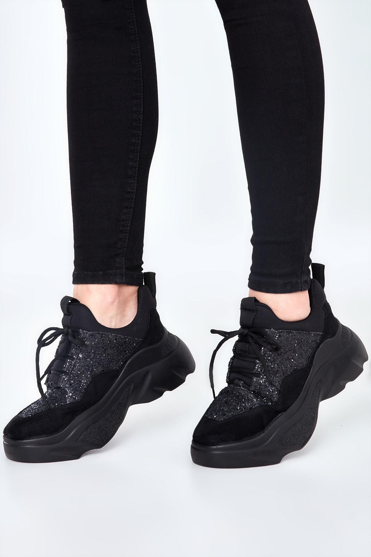 Bambi Siyah/Siy.Camkırık Kadın Sneaker 65