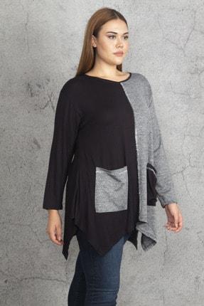 Şans Kadın Siyah İki Renkli Taş Ve Cep Detaylı Tunik 65N19686 0