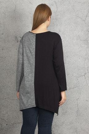 Şans Kadın Siyah İki Renkli Taş Ve Cep Detaylı Tunik 65N19686 1