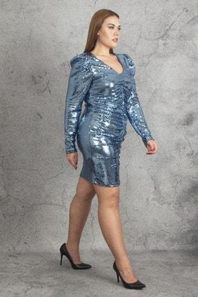Şans Kadın Mavi Ko Ve Ön Büzgü Detaylı Astarlı Payet Elbise 65N19783 1