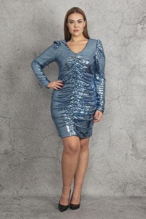 Şans Kadın Mavi Ko Ve Ön Büzgü Detaylı Astarlı Payet Elbise 65N19783 4