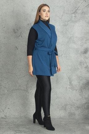 Şans Kadın Petrol Scuba Kumaş Ceket Yakalı Kuşaklı Yelek 65N19843 1