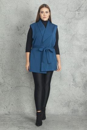 Şans Kadın Petrol Scuba Kumaş Ceket Yakalı Kuşaklı Yelek 65N19843 3