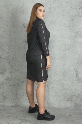 Şans Kadın Antrasit Yarım Balıkçı Yakalı Yan Şerit Detaylı Elbise 65N19813 2