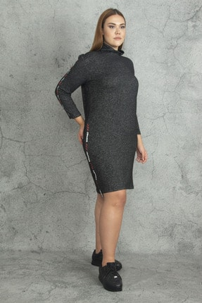 Şans Kadın Antrasit Yarım Balıkçı Yakalı Yan Şerit Detaylı Elbise 65N19813 3