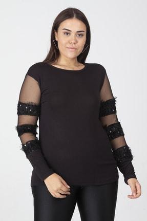 Şans Kadın Siyah Payet Ve Tül Detaylı Bluz 65N19465 0