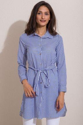 Kadın Modası Kadın Saks Düğmeli Kuşaklı Çizgili Tunik 0