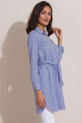 Kadın Modası Kadın Saks Düğmeli Kuşaklı Çizgili Tunik 2