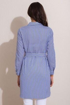 Kadın Modası Kadın Saks Düğmeli Kuşaklı Çizgili Tunik 4