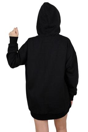 Betta Moda Kadın Siyah Oversize Kapüşonlu Sweatshirt 2