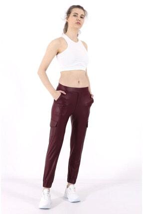 TREND34 Kadın Bordo Deri Görünümlü Cepli Pantolon 0