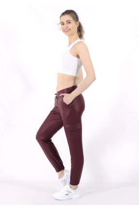 TREND34 Kadın Bordo Deri Görünümlü Cepli Pantolon 1