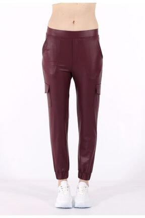 TREND34 Kadın Bordo Deri Görünümlü Cepli Pantolon 2