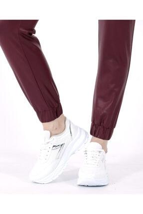 TREND34 Kadın Bordo Deri Görünümlü Cepli Pantolon 4