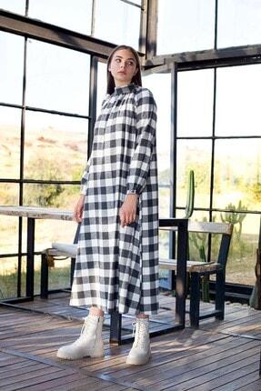 Mevra Kadın Siyah Büzgülü Elbise 1