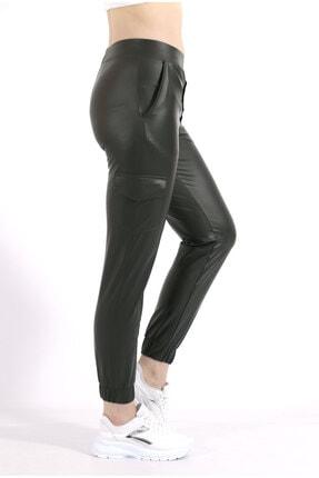 TREND34 Kadın Haki Deri Görünümlü Cepli Pantolon 1