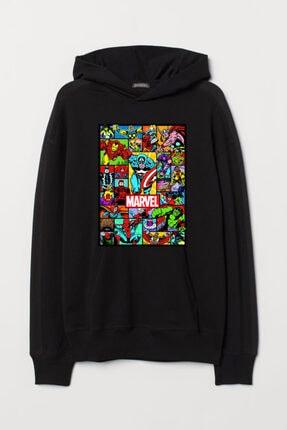 JOKERMERSİN Unisex Siyah Marvel Hoodie 0