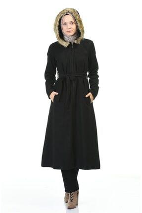 Vivezza Kürklü Kapşonlu Kaşe Kaban 6807-01 Siyah 1