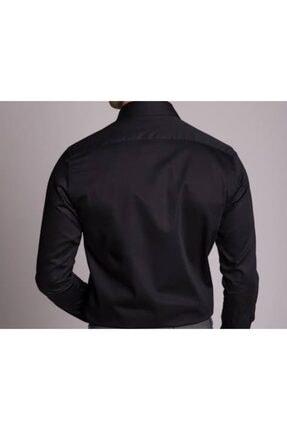 Daflin Erkek Siyah Slimfit Pamuk Saten Gömlek 1