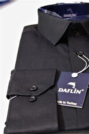 Daflin Erkek Siyah Slimfit Pamuk Saten Gömlek 4