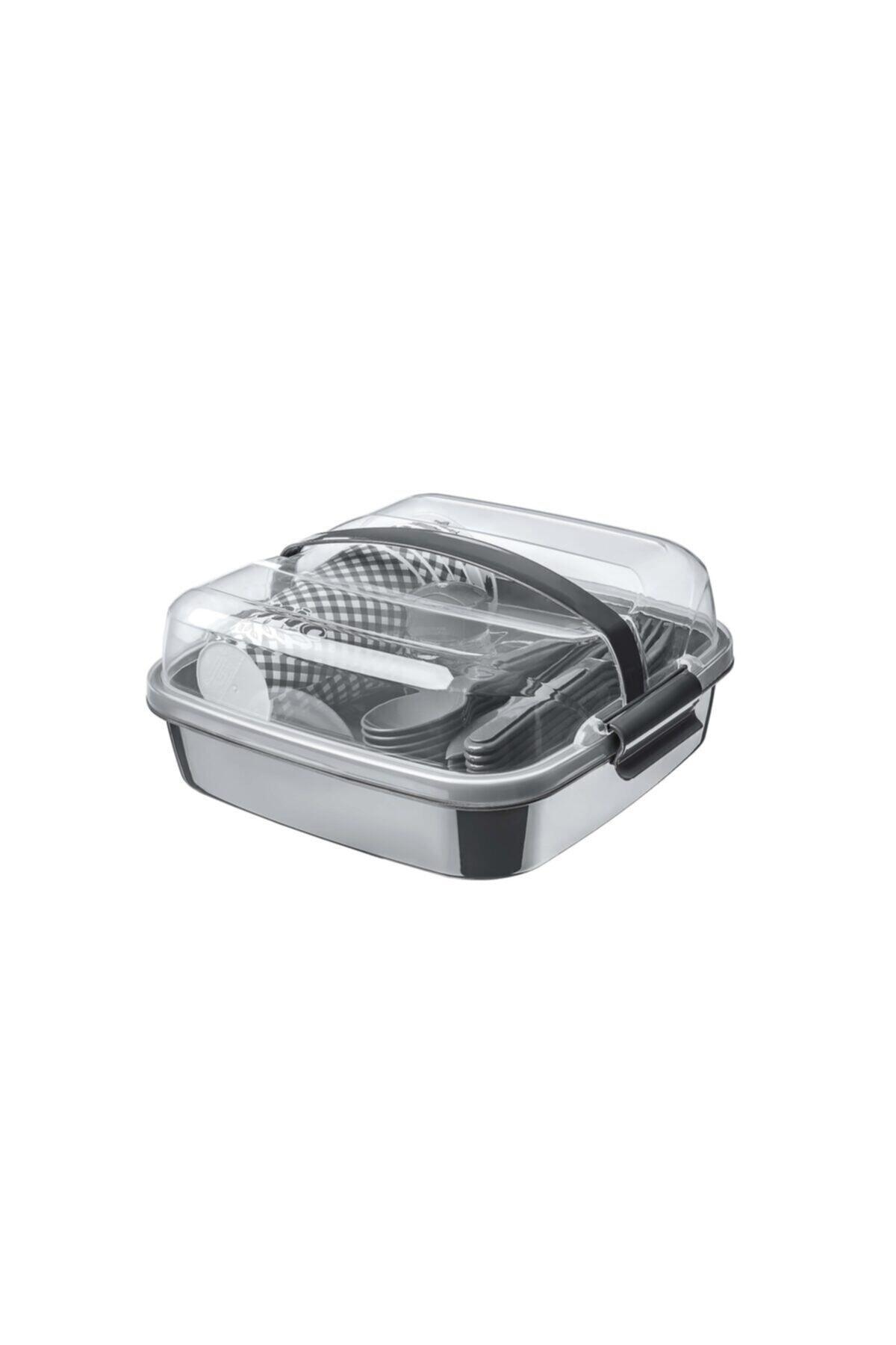 HIZLI TESLİMAT Lovely 32 Parça Piknik Seti - Içiçe Geçebilen Çatal Kaşık Bıçaklı Ap9146-gri