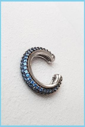 MorMajor Silver Aqua Zirkon Taşlı Rodyum Kaplama Kıkırdak Gümüş 0