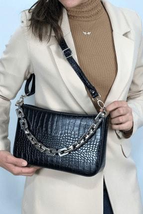 LinaConcept Kadın Siyah Kroko  Baget Zincir Askılı Omuz Çantası 3