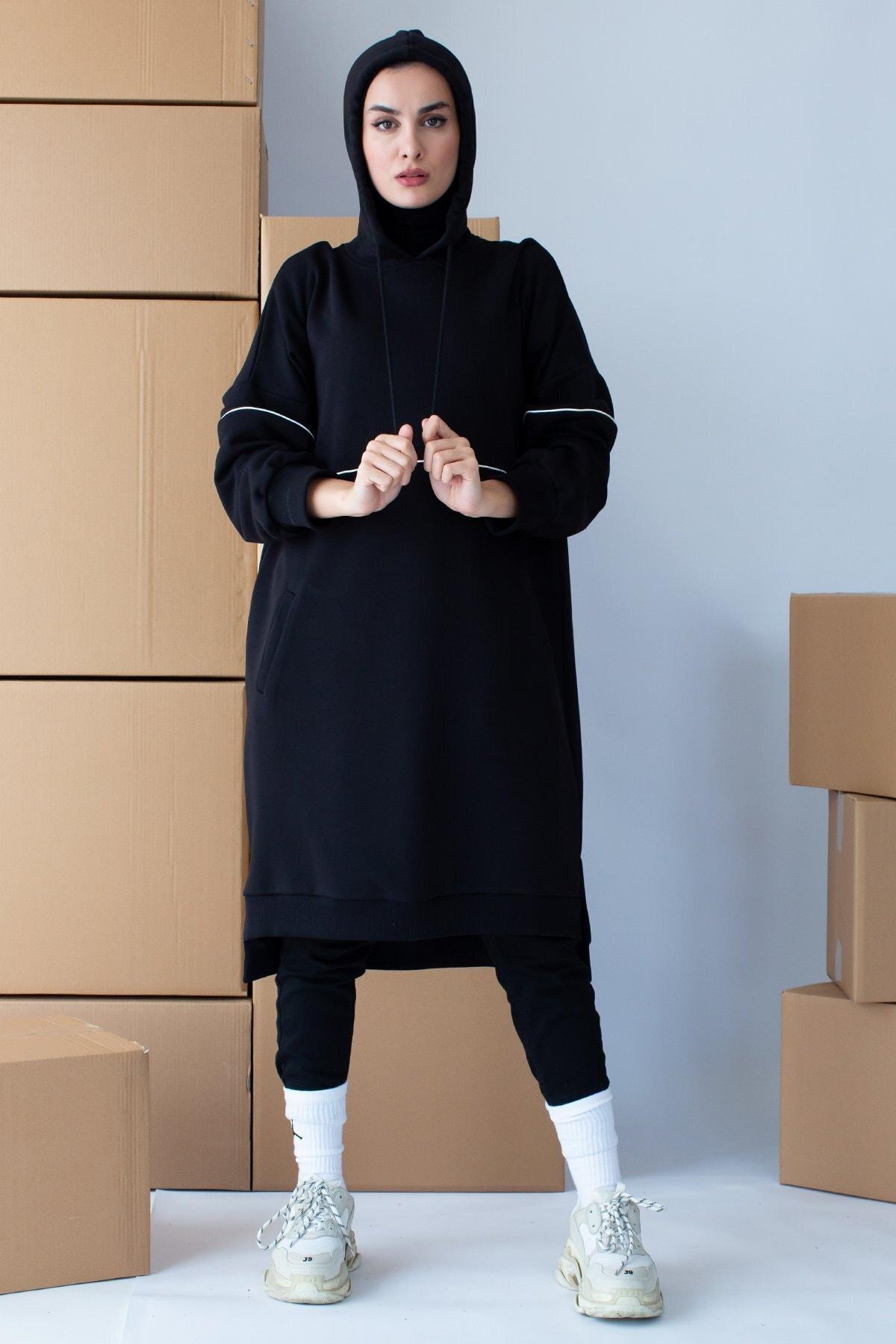 Kadın Siyah Kapüşonlu Biyeli Sweatshirt