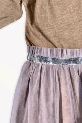 Me And The Bowie Kız Çocuk Kahverengi Volan Yaka Tül Etekli Elbise 3