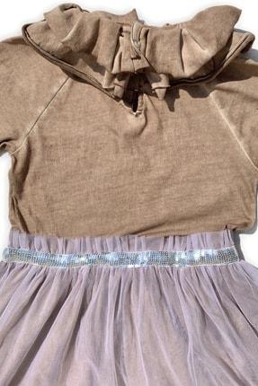 Me And The Bowie Kız Çocuk Kahverengi Volan Yaka Tül Etekli Elbise 4