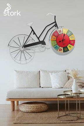 American Retro Dekoratif Bisiklet & Duvar Saati - Antrasit ST-DS-1001-ANT