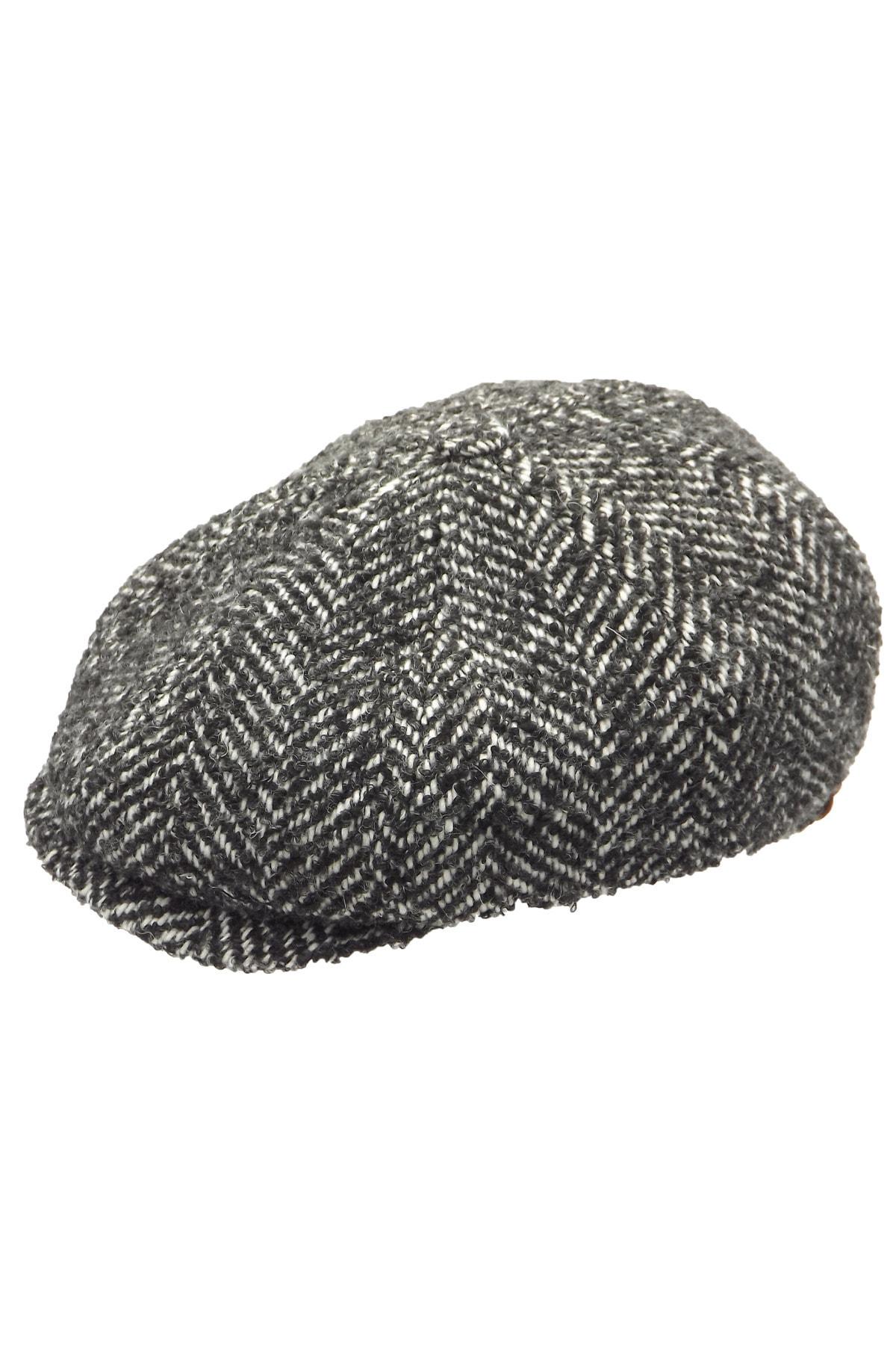 Erkek Gri 8 Köşeli Kasket Şapka