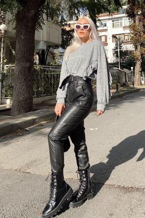 SwistLuxury Kadın Siyah Yüksek Bel Kemerli Suni Deri Pantolon 2