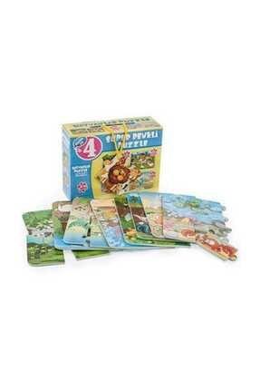 DIY Toys Puzzle Hayvanlar 4ü Bir Kutuda Süper Renkli 1