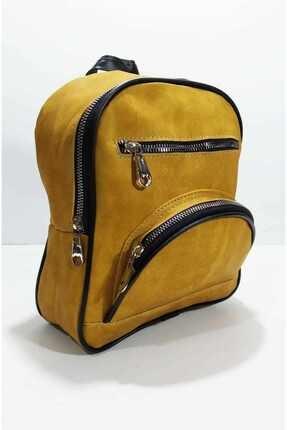 Kadın Sarı Mini 3 Bölmeli Sırt Çantası b2-1