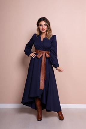 Bidoluelbise Kadın Lacivert Deri Kemerli Uzun Kol Asimetrik Kesim Elbise 0