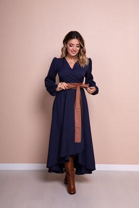 Bidoluelbise Kadın Lacivert Deri Kemerli Uzun Kol Asimetrik Kesim Elbise 1