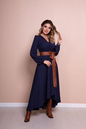 Bidoluelbise Kadın Lacivert Deri Kemerli Uzun Kol Asimetrik Kesim Elbise 4
