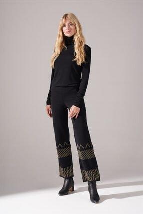 Kadın Siyah Sim Detaylı Triko Pantolon resmi