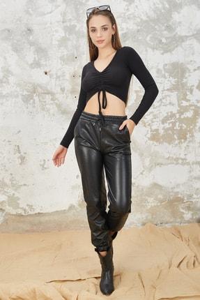 Orjinshop Kadın Siyah Polarlı Beli Lastikli Jogger Suni Deri Pantolon 1