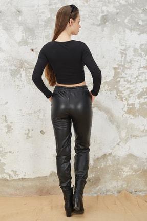 Orjinshop Kadın Siyah Polarlı Beli Lastikli Jogger Suni Deri Pantolon 2