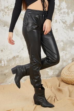 Orjinshop Kadın Siyah Polarlı Beli Lastikli Jogger Suni Deri Pantolon 4