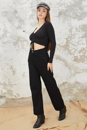 Orjinshop Kadın Siyah Palazzo Kot Pantolon 3