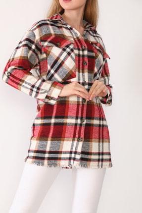 trendolur Kadın Kırmızı Çift Cepli Oduncu Gömlek 1
