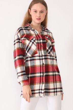 trendolur Kadın Kırmızı Çift Cepli Oduncu Gömlek 2